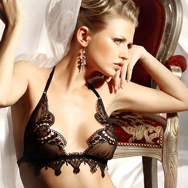7e033a0a9d0 Fine Lingerie Amour Triangle Bra with Swarovski Crystals by Prelude S1058
